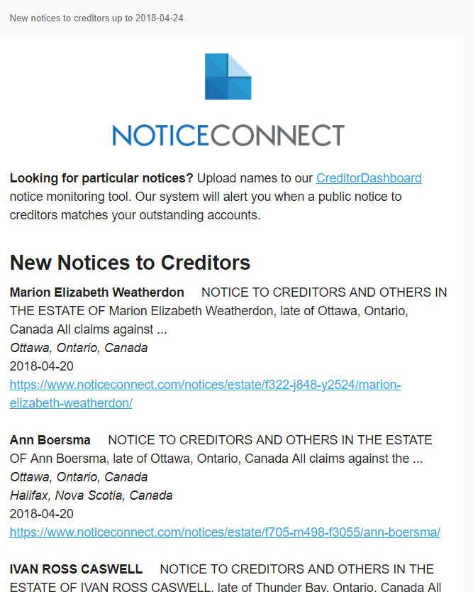 What are estate notices to creditors and how do they help